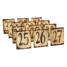 natural square woodburned table numbers set of 12 403119