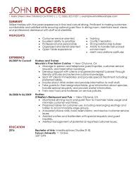 Resume Job Description by Server Job Description Server Resume Sample 2016 Regarding