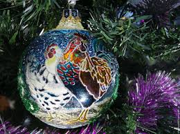 buy glass christmas ball with stained glass painted bird house on