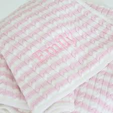 Personalised Duvet Covers Personalised Pink Stripe Cable Knit Blanket My 1st Years
