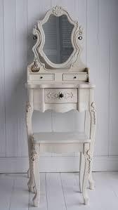 Narrow Vanity Table Toilette Con Pouf In Legno Bianco 70x157x38 Cm Arredi Chic