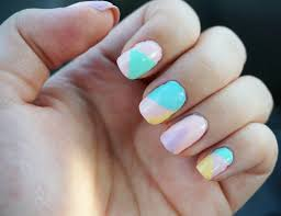 sarah pastel colour block nails tutorial for spring