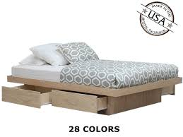 Oak Platform Bed Platform Bed With 4 Drawers On Tracks In Oak