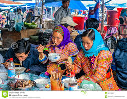 Hmong Map Hmong People Eating On Sunday Market Editorial Photography