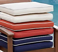 Chair Cushions For Outdoor Furniture by Sunbrella Piped Outdoor Dining Chair Cushion Solid Pottery Barn