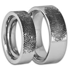 matching rings matching men s and women s tungsten fingerprint rings pipe cut