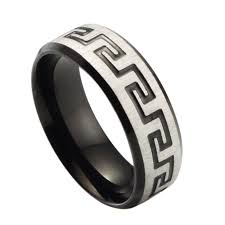 men s personalized titanium stainless steel band ring black