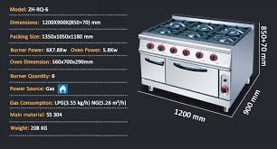 Outdoor Gas Cooktops Restaurant Stainless Steel Free Standing 6 Burners Gas Cooktop