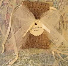 burlap wedding favor bags 10 burlap wedding favor bags personalized tags with tulle