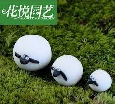 3 sheep polymer clay ornaments moss micro landscape