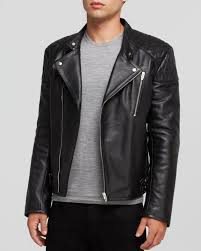padded leather motorcycle jacket mcq leather biker jacket in black for men lyst
