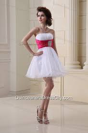 quinceanera damas dresses a line strapless beading and ruching organza white dama dress for