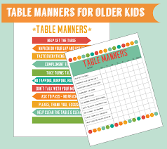 table manners for kids printable table manners for older kids set of 2 digital printables kids