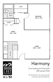 600 Square Foot Floor Plans Gallery Tantra Lake Apartment Homes