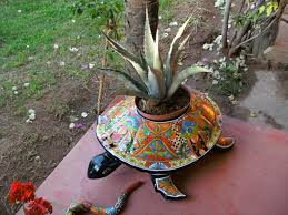 talavera tortuga planter with agave plant mexico pinterest