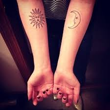 small matching tattoos for sun and moon tattoos