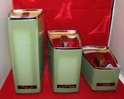 metal canisters kitchen lincoln beautyware 3 metal canister set avocado green lid flour