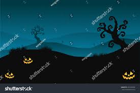 silhouette halloween scary hills dry tree stock vector 443346994