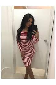 dollywood boutique bardot stripe ribbed long sleeve bodycon dress
