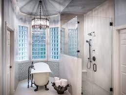 Glass Block Bathroom Ideas by Bathroom Black Rustic Iron Pendant Lamp And Clawfoot Bathtub Also