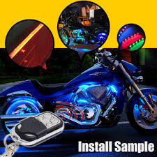how to install led strip lights on a motorcycle 8x rgb led motorcycle lighting neon glow lights strips kit for