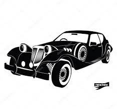 old cars black and white monochrome retro car front view black auto silhouette luxury