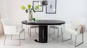 Contemporary Black Dining Chairs Luxurious Contemporary Black Ash Real Leather Extending Set