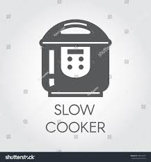 slow cooker black flat icon pictogram stock vector 706572823