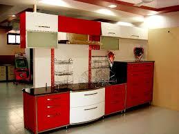 modern kitchen design in red and white gharexpert