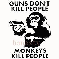 monkey with gun animal cartoon sticker decal vinyl car window