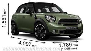 Mini Clubman Dimensions Interior Dimensions Of Mini Cars Showing Length Width And Height