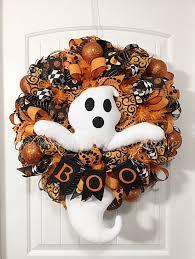 Etsy Halloween Wreath by Halloween Wreath Front Door Wreath Welcome Wreath Ghost Wreath