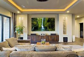 How We Design Spaces Austin Home Theater - Living room with home theater design
