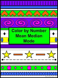 mean median mode color by number aztec number activities aztec