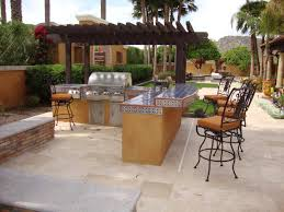 good looking grey covered outdoor kitchen island come with stone