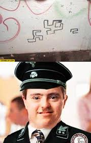 Syndrome Of A Down Meme - swastika fail down syndrome starecat com