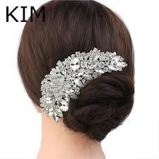 hair accessories online rhinestone crystals comb clear flower hair comb for wedding women