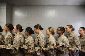 black friday marine boot camp female marine recruits stand in line before getting lunch in the