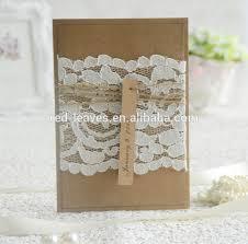 Kraft Paper Wedding Invitations 250gsm Craft Paper Laminated Wedding Invitations With Lace Wedding