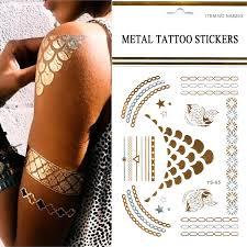 beautiful shimmer glitter temporary tattoos10pcs lot flash gold