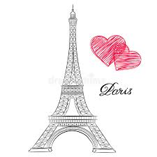 sketch of paris eiffel tower with hearts stock vector image