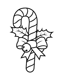 candy cane with ribbon and little bell coloring page candy cane