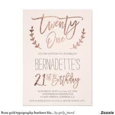 Birthday Card Invitation Ideas Rose Gold Typography Feathers Blush 21st Birthday Card