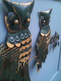 seattle junk love sold groovy painted metal owls wall art 35