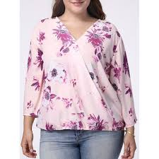 purple blouse plus size wholesale v neck 3 4 sleeve floral printed wrapped blouse