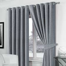 Luxury Grey Curtains Stylish Luxury Ringtop Eyelet Lined Plain Chenille Curtains Silver
