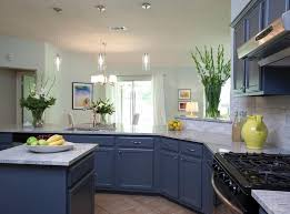 Custom Painted Kitchen Cabinets Kitchen Interesting Custom Blue Kitchen Cabinet With Marble