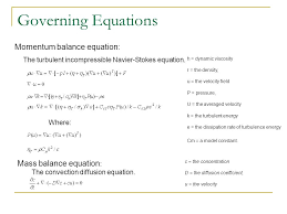 governing equations momentum balance equation the turbulent incompressible navier stokes equation