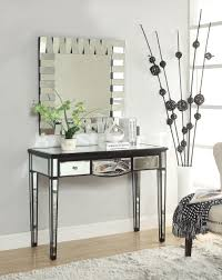 glamour small foyer tables light mirrored glass material in