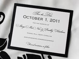 wedding save the date backing formal wedding save the date cards white and black color